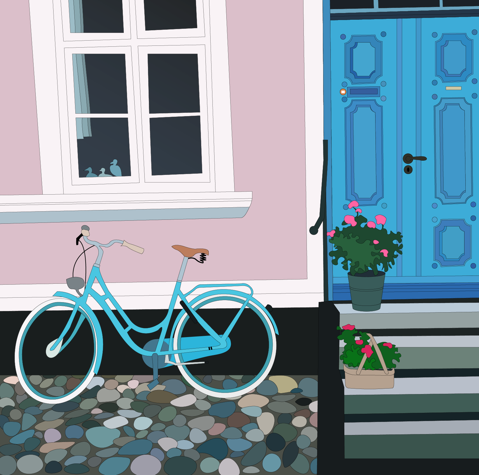 En illustration af en husfacade med en cykel foran