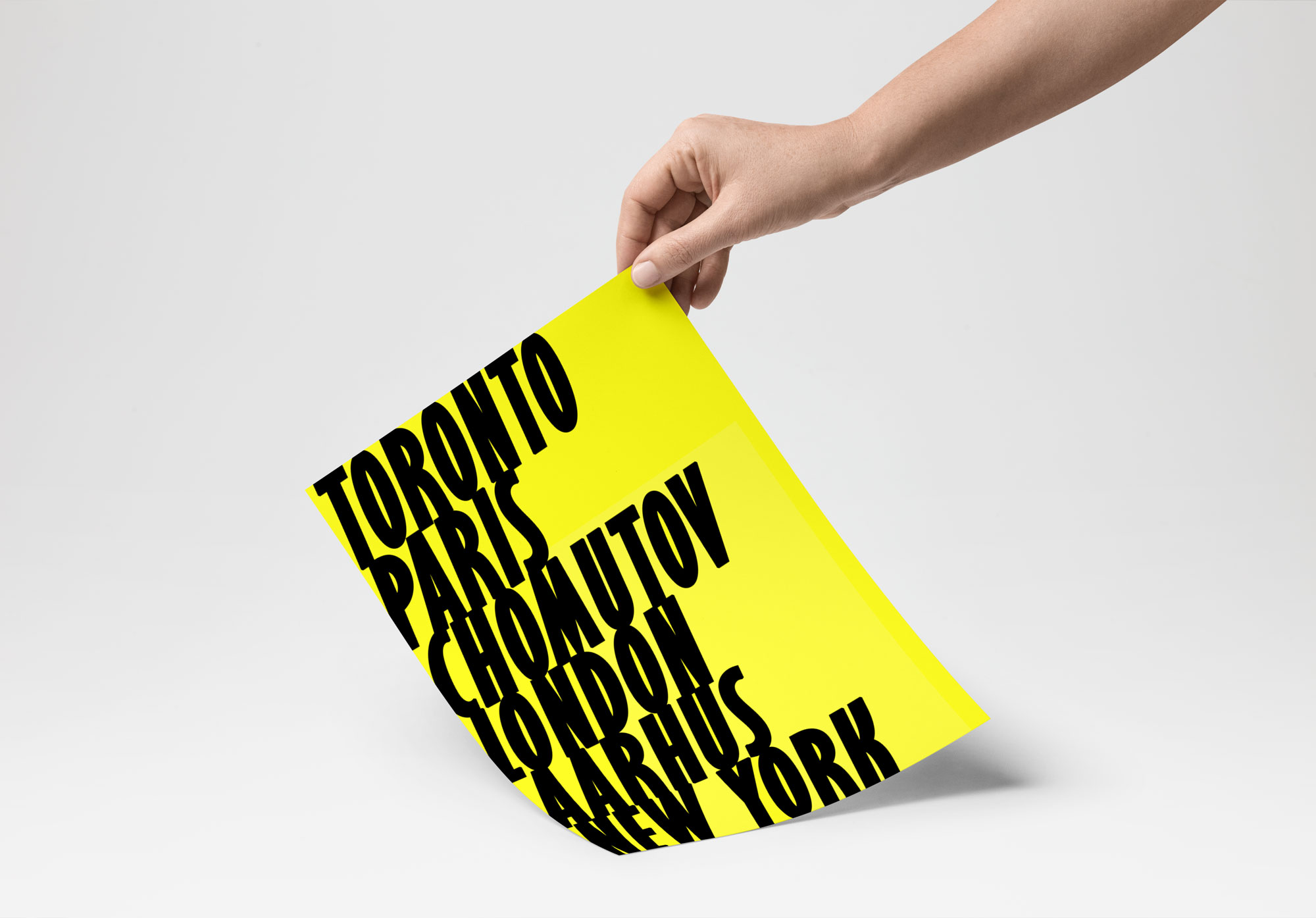 Display af plakat med font og farver