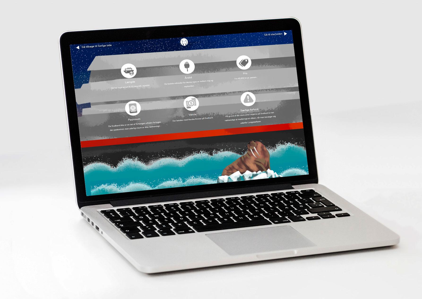 Display af website for krydstogt rejse til Svalbard