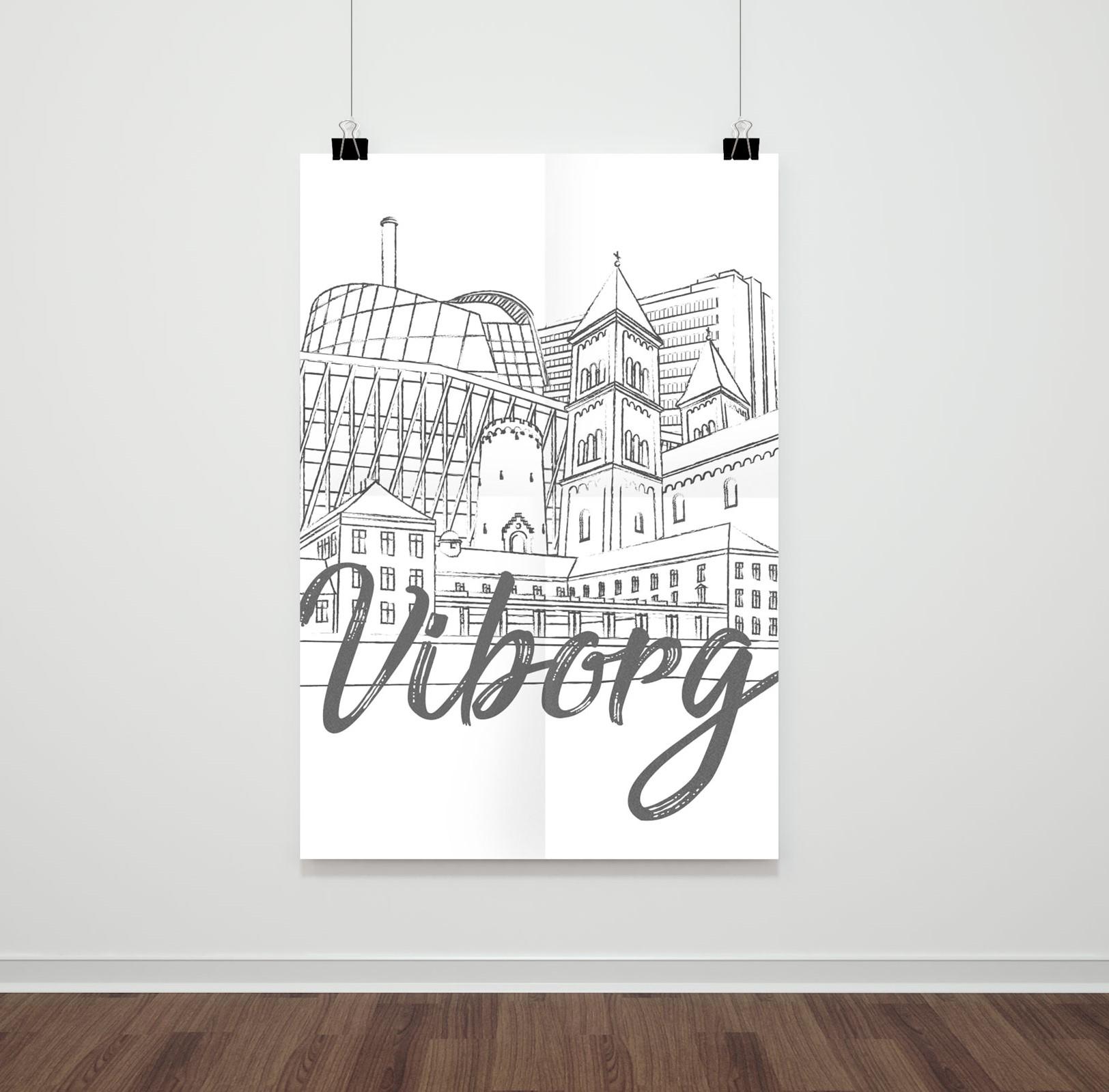 Display af plakat med Viborg
